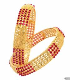Buy ROYAL TRADIONAL ANTIQUE GOLDEN POTA STONE STUDDED HANDMADE BANGLE SET (2 PC) (POTA RED) - PCB1023 bangles-and-bracelet online