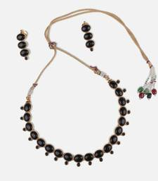 Buy Black Oval Stone Studded Necklace necklace-set online