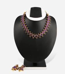 Buy Purple Tear-drop Necklace & Jumka Earring necklace-set online