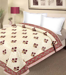 Buy Camoes Red Pure Cotton Block Print Double Duvet Cover duvet-cover online