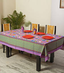 Buy Lavender Botanical Pigment Print Cotton Table Cover with 06 Napkins table-cloth online