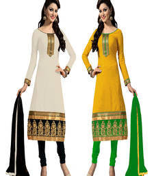 Buy Multicolor plain chanderi unstitched salwar with dupatta salwar-combo online