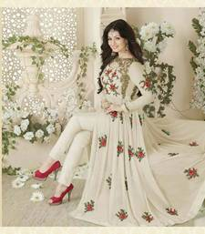 Buy Off white embroidered georgette salwar anarkali-salwar-kameez online