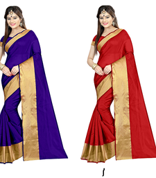 Buy Multicolor printed cotton saree with blouse sarees-combo-sari online