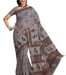 Buy Aria Grey cotton printed summer collection saree ks347 cotton-saree online