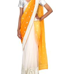 Buy RAAS SHIMMER, NET Mango, OffWhite Sarees shimmer-saree online