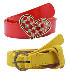 "Buy "" Yellow and Red Color"" Belt Combo For Womens gifts-for-sister online"
