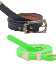 "Buy "" Green and Black Color"" Belt Combo For Womens gifts-for-sister online"