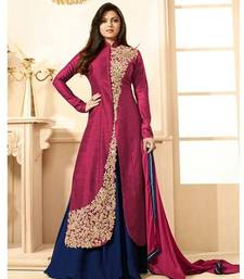 Buy Pink Embroidered Banglori Silk Anarkali Semi-stitched Indowestrn Suit dress-material online