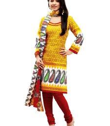 Buy Riti Riwaz yellow printed dress material with dupatta WC2002 dress-material online