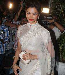 Buy Deepika Padukone looked gorgeous in white saree deepika-padukone-saree online