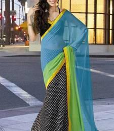 Buy Maya Blue and Black Dupion Silk Printed Party and Festival Saree printed-saree online