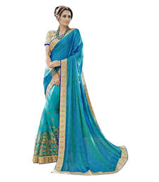Buy Sky blue embroidered art silk saree with blouse wedding-saree online
