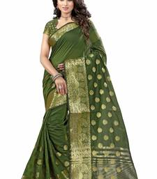 Buy Mehendi plain cotton silk saree with blouse one-minute-saree online