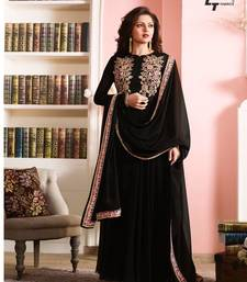 Buy Black embroidered georgette semi stitched salwar with dupatta dress-material online