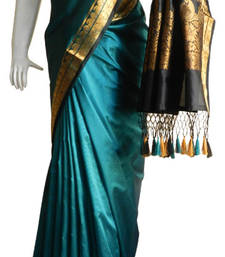 Buy Turquoise With Black & Zari Border banarasi Silk Saree with Fringes banarasi-silk-saree online