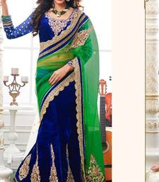 Buy Navy Blue and Green Color  Net and  Velvet Lehenga Style Saree With Blouse velvet-saree online