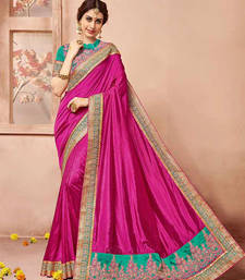 Buy Dark pink embroidered art silk saree with blouse silk-saree online
