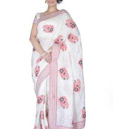 Buy Traditional White Silk  Saree with Blouse silk-saree online