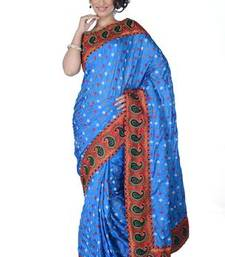 Buy Traditional Blue Silk  Saree with Blouse silk-saree online