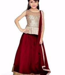 Buy Maroon Net semi stitched lehenga choli with dupatta kids-lehenga-choli online