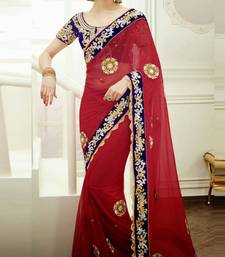 Buy Red Color Net Saree with Blouse  net-saree online
