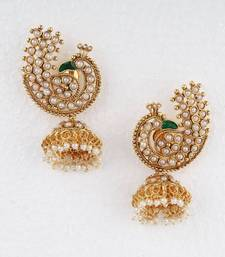 Buy White Stone Peacock Jumka Earrings stud online