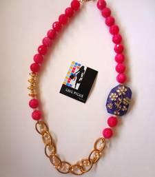 Buy Purple Kundan pendant - Pink Onyx Designer Necklace Necklace online