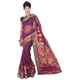 Buy Supernet Fancy Multi Aanchal Border Saree supernet-saree online