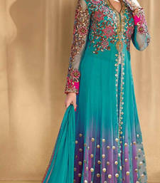Buy Rama green embroidered net semi stitched salwar with dupatta semi-stitched-salwar-suit online