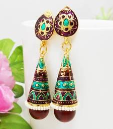 Buy Meenakari Pendant Cone Jhumar Earring Aqua Violet Brown 2 stud online