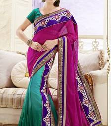 Buy Simplistic Green and Magenta Half and Half Saree With Blouse  jute-saree online
