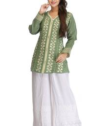 Buy Green embroidered cotton kurtas-and-kurtis chikankari-kurti online
