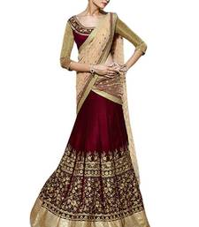 Buy Multicolor embroidered art silk unstitched lehenga ghagra-choli online