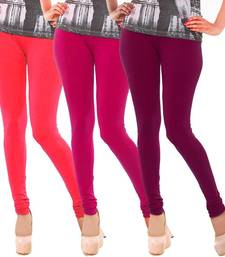 Buy Multicolor Churidar Komal 3Pc Cotton Leggings leggings-combo online