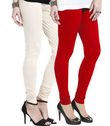 Buy Off-White n Red Churidar Komal Cotton Leggings leggings-combo online