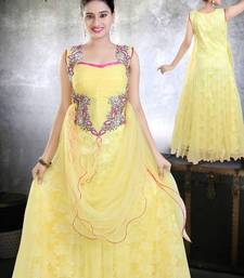 Buy Net with embroidery and Stone work Yellow Gown  - sk0049 - MuHeNeRa Special pakistani-salwar-kameez online
