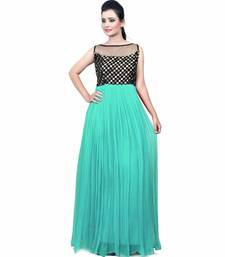 Buy Green plain georgette semi stitched party wear gowns evening-wear-dress online