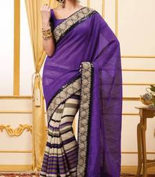 Buy Designer Half Half Purple and Beige Cotton Dupion Saree with stripes and thread embroidery border With Blouse cotton-saree online