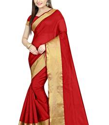 Buy Red Plain cotton poly saree with blouse ethnic-saree online