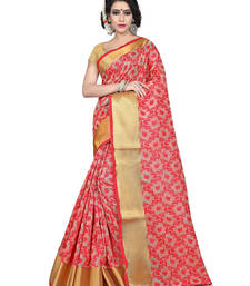 Buy Red color tussar silk saree with blouse tussar-silk-saree online