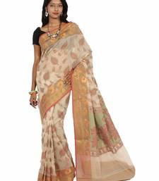 Buy Supernet resham work zari border saree supernet-saree online