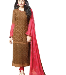 Buy Brown embroidered georgette semi stitched salwar with dupatta multicolor-salwar-kameez online