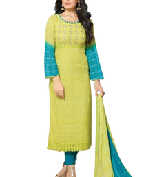 Buy Light green embroidered georgette semi stitched salwar with dupatta multicolor-salwar-kameez online