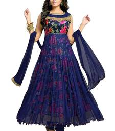 Buy Blue embroidered cotton semi stitched salwar with dupatta anarkali-salwar-kameez online