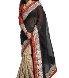 Buy indian Bollywood style Supernet cotton Black saree by sareez house cotton-saree online