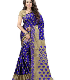 Buy Blue printed brasso saree with blouse brasso-saree online