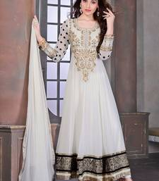 Buy White embroidered georgette semi stitched salwar with dupatta eid-special-salwar-kameez online