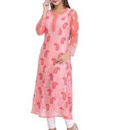 Buy Peach embroidered faux georgette embroidered-kurtis chikankari-kurti online