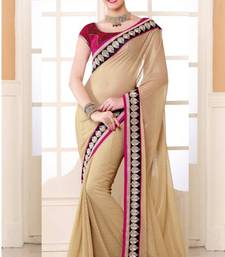 Buy Beige Color Shimmer Party Wear Saree With Blouse shimmer-saree online